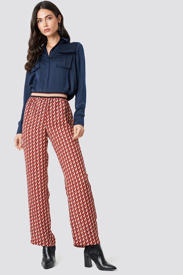 navy Shirt X Pattern Pant Outfit