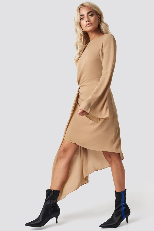 Draping Detail Asymmetric Dress