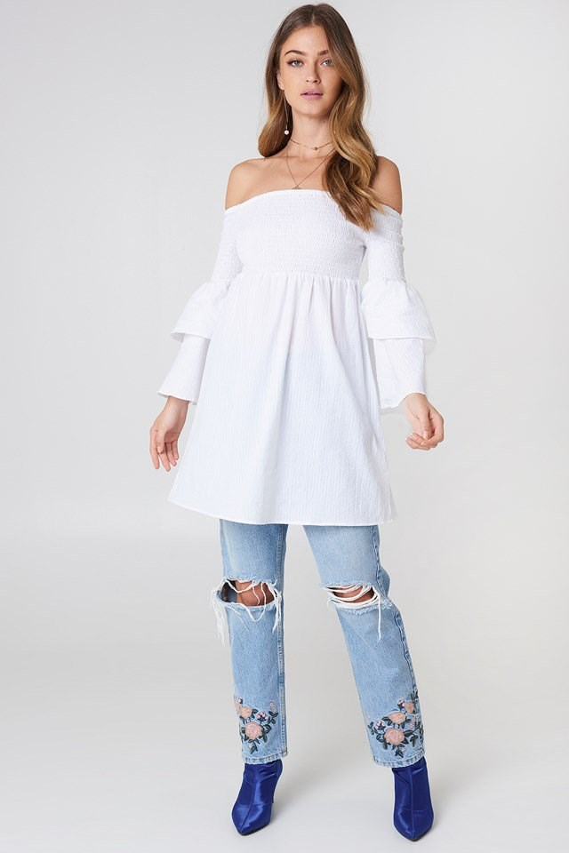 White Off the Shoulder Tunic Outfit