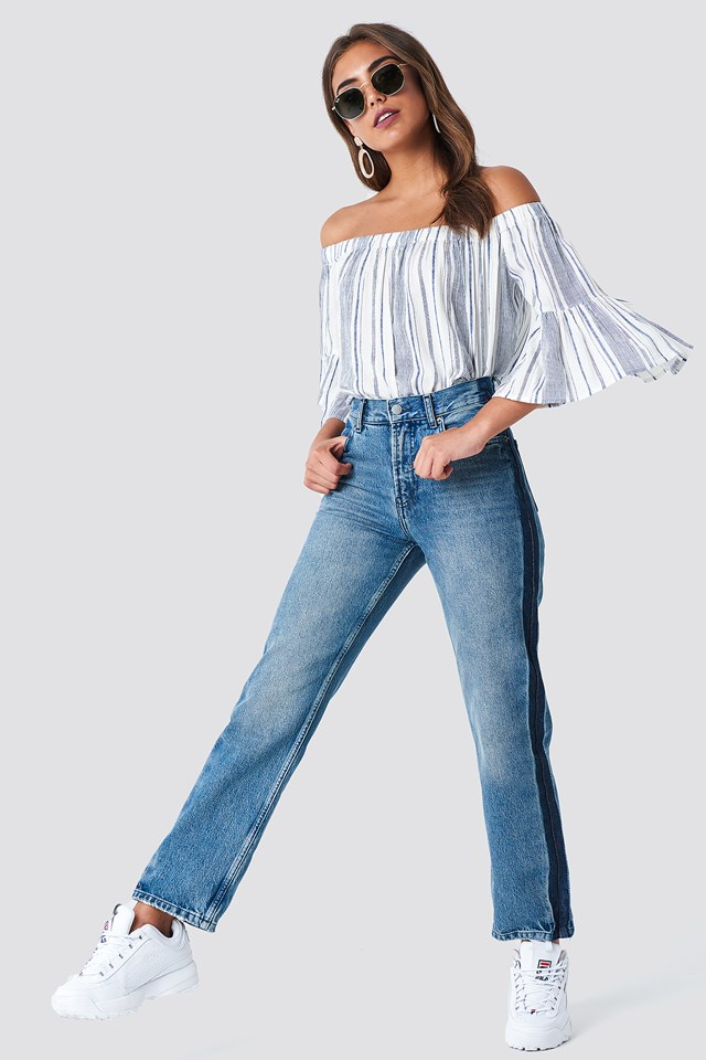 Straight Fit Jeans & Off Shoulder Top