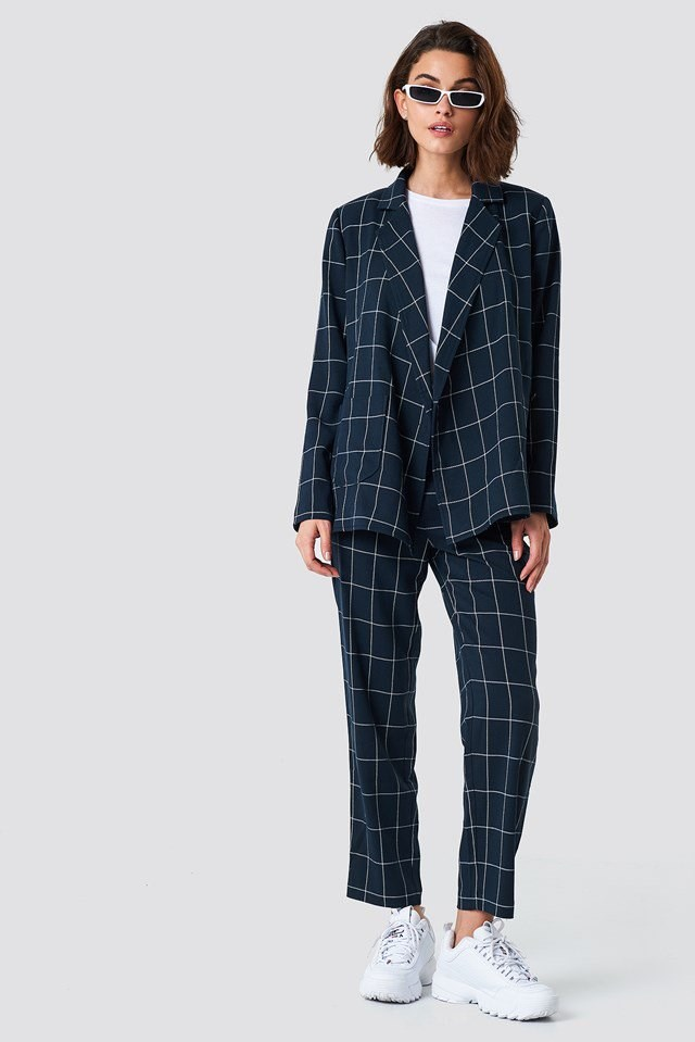 Checkered Oversized Blazer Outfit.