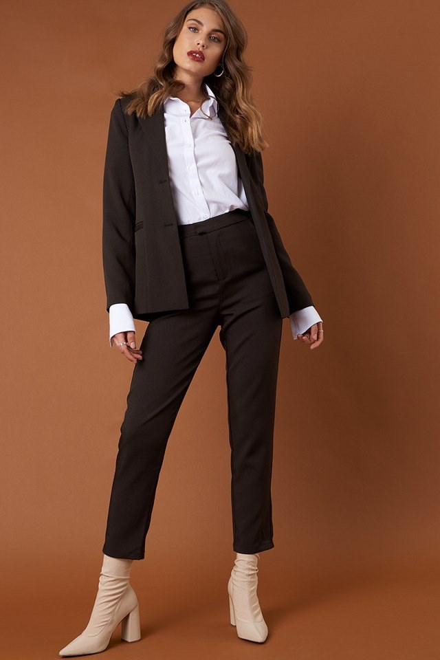 Straight Suit Pants and Blazer with Long Sleeve Wide Cuff Shirt