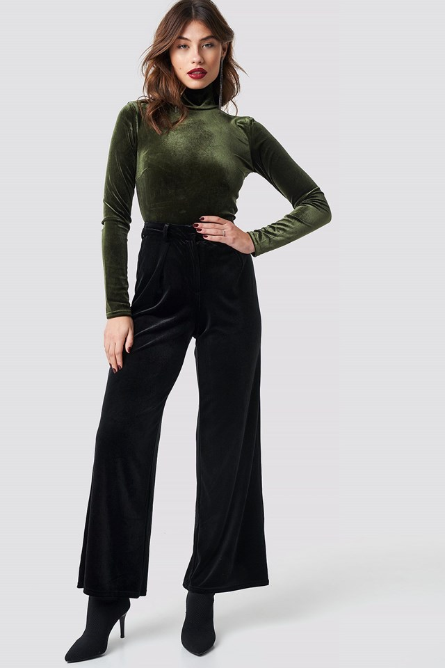 Flared Velvet Pants Outfit