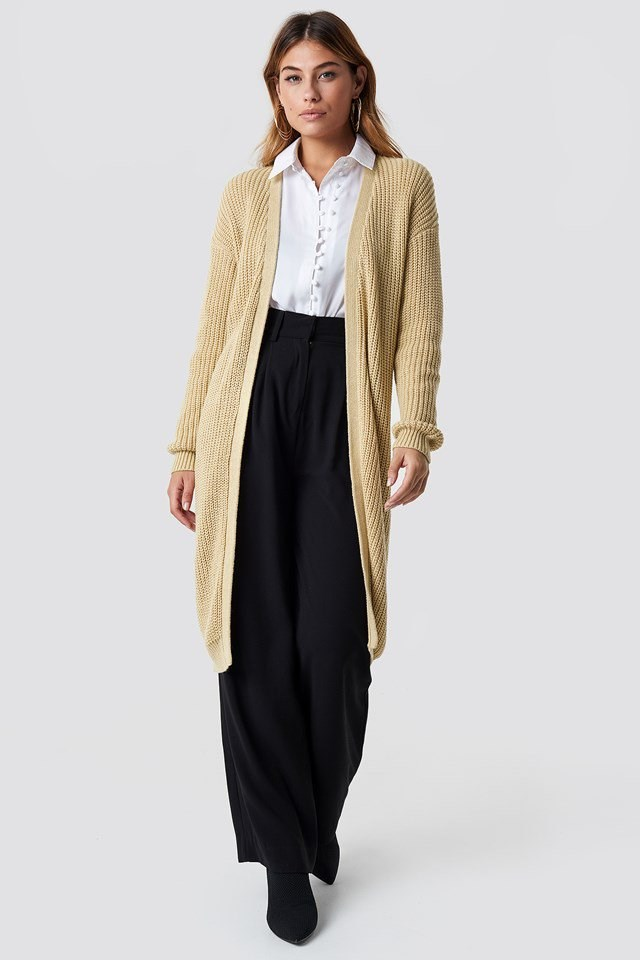 Dropped shoulder, long open knit outfit