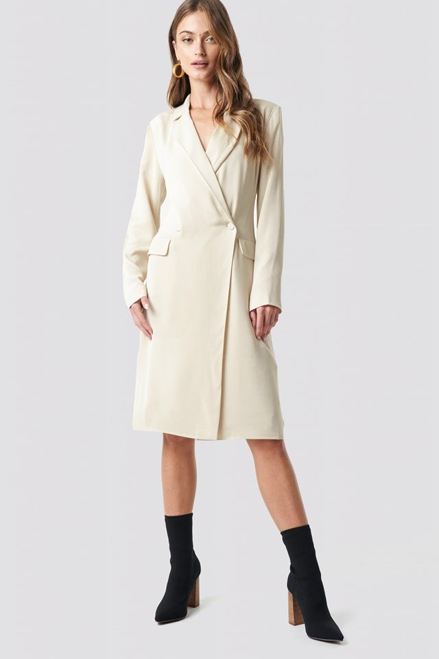 Beige wrap over midi blazer dress