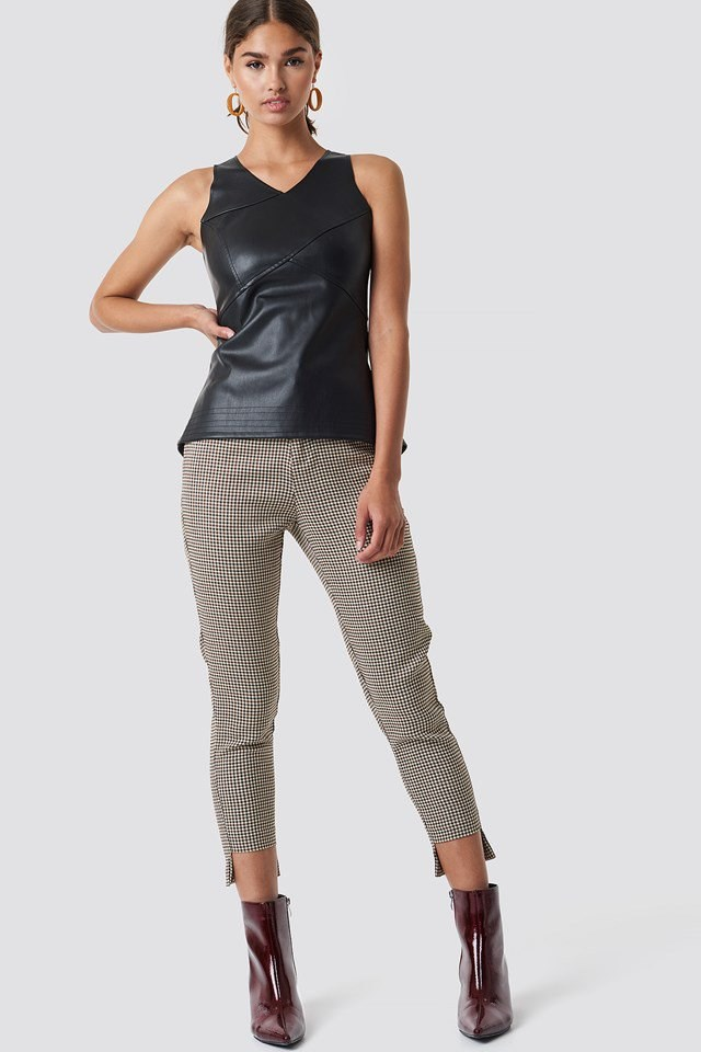 Cutline Detail PU Top Outfit