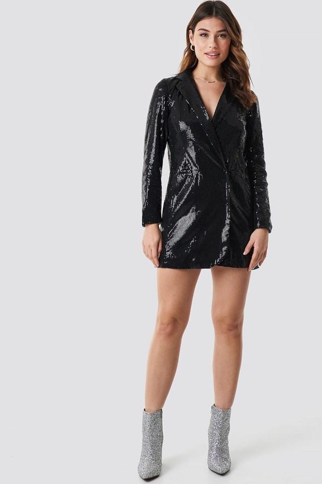 Black Sequin Dress.