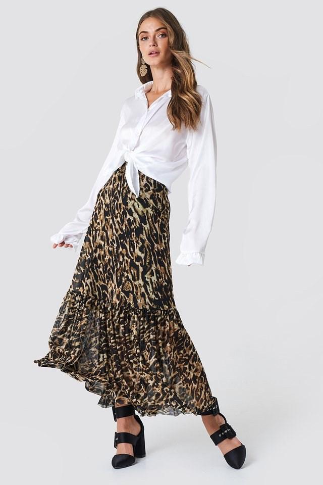 Leopard Midi Skirt with a Basic Shirt
