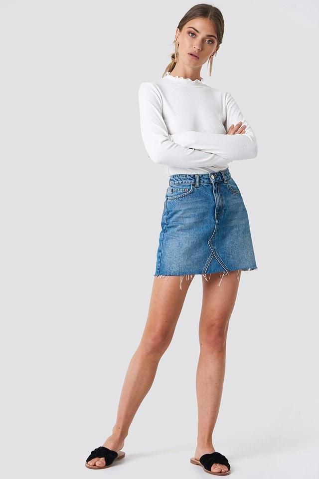 Denim Skirt and Long Sleeve Shirt