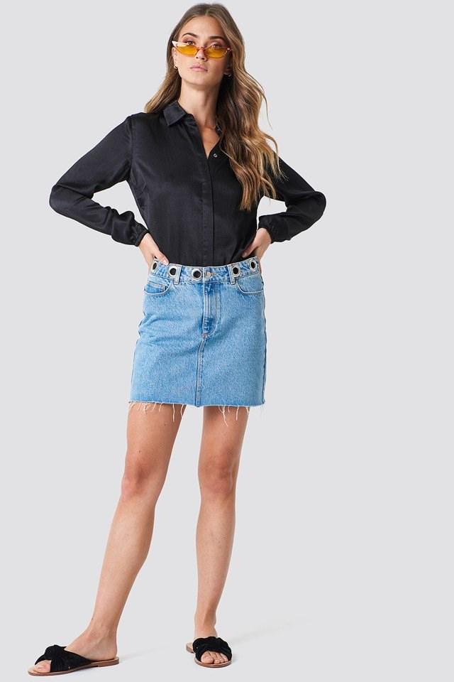 Denim Skirt with Satin Blouse