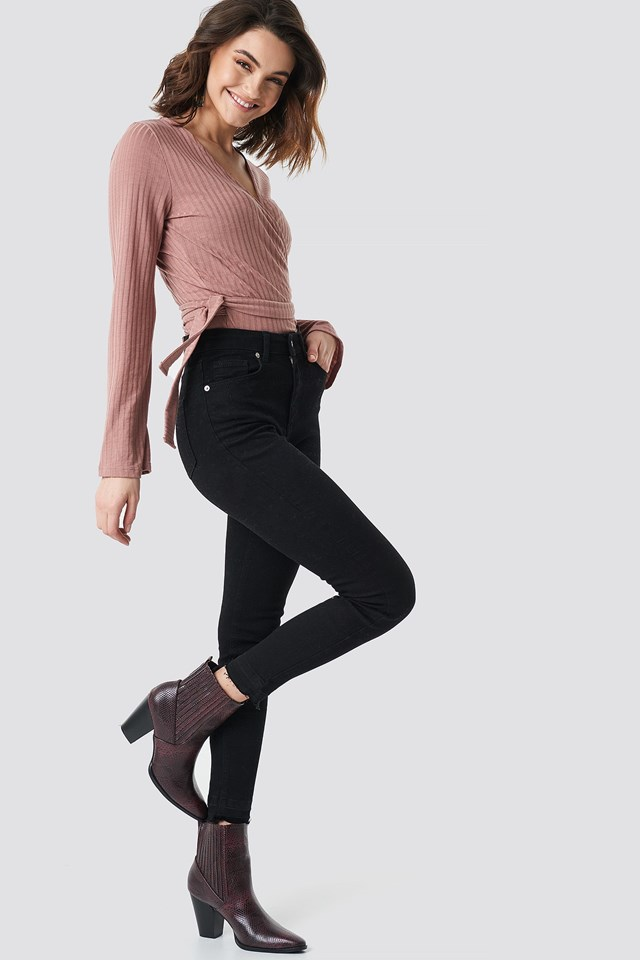 Ribbed Wrap Top Outfit