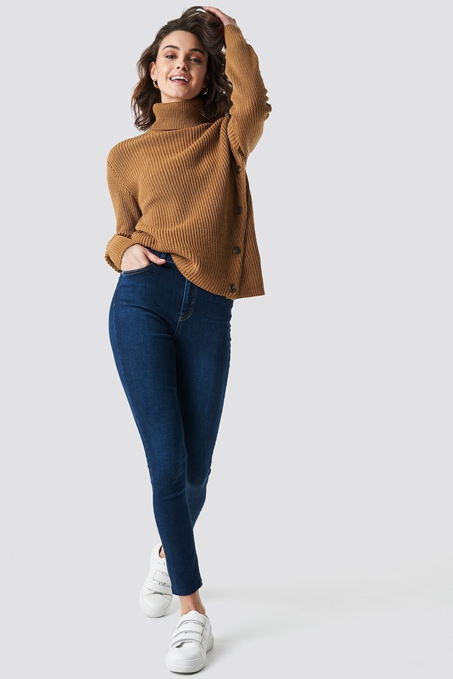 Side Buttoned Sweater Outfit