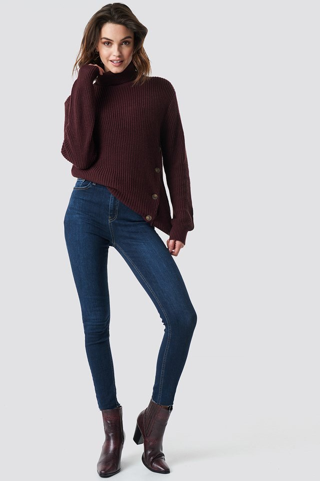 Side Buttoned Knit Outfit