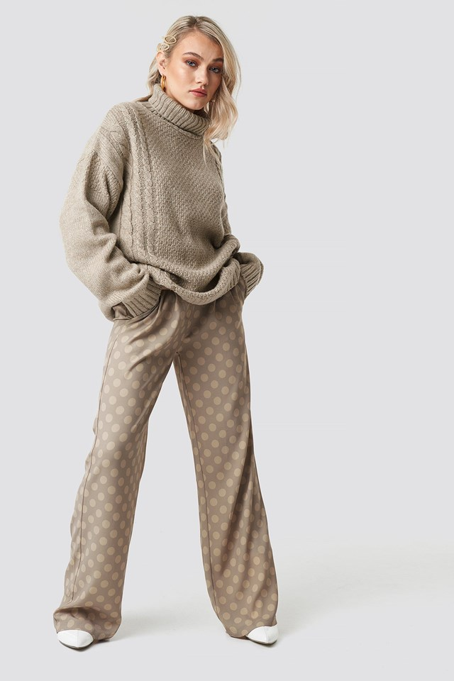 Cable Knit Turtleneck Sweater Outfit