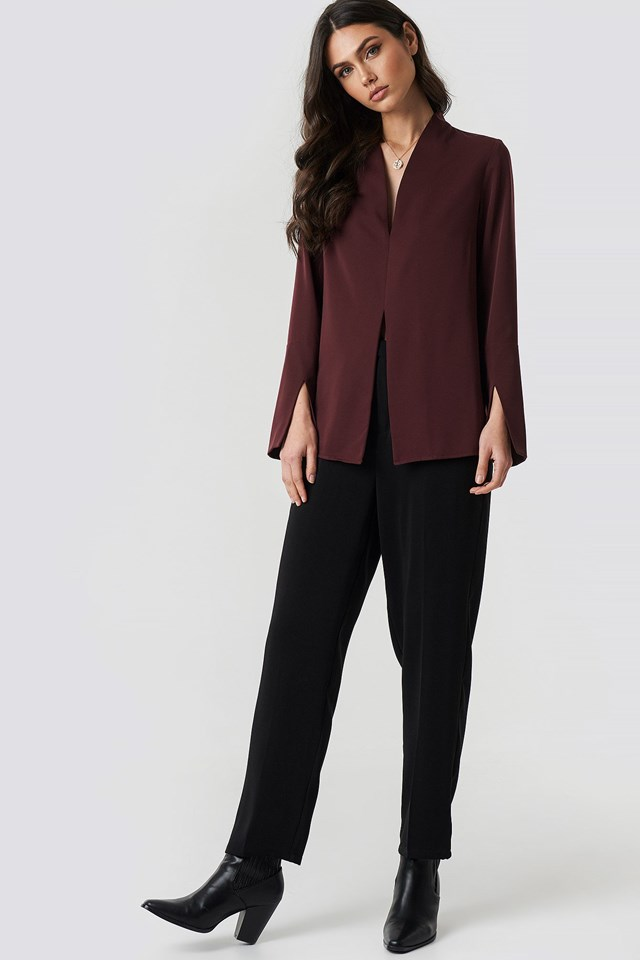 WIde Cuff Slit Detail Blouse Outfit