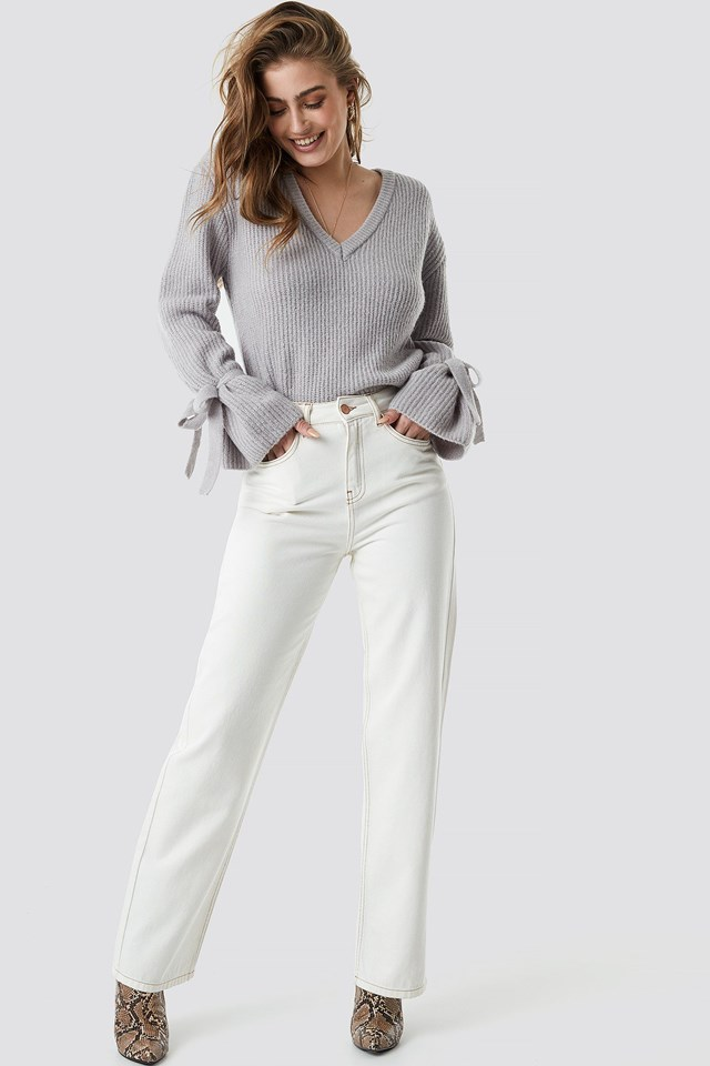 Tie Sleeve Sweater Outfit