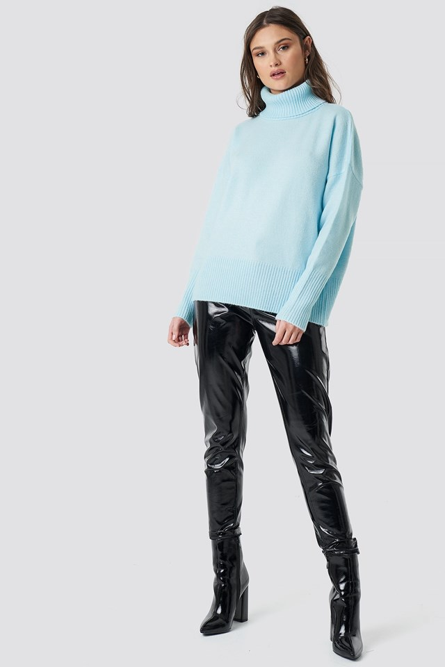 High Neck Wide Rib Sweater Outfit