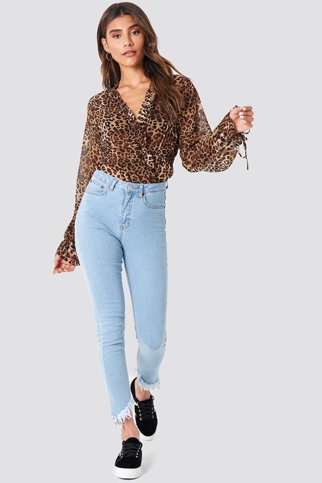 Leopard Blouse with Denim Pants