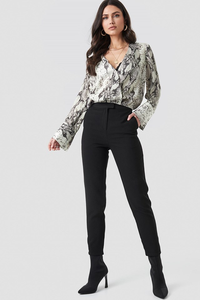 Snake Printed Overlap Blouse Grey Outfit