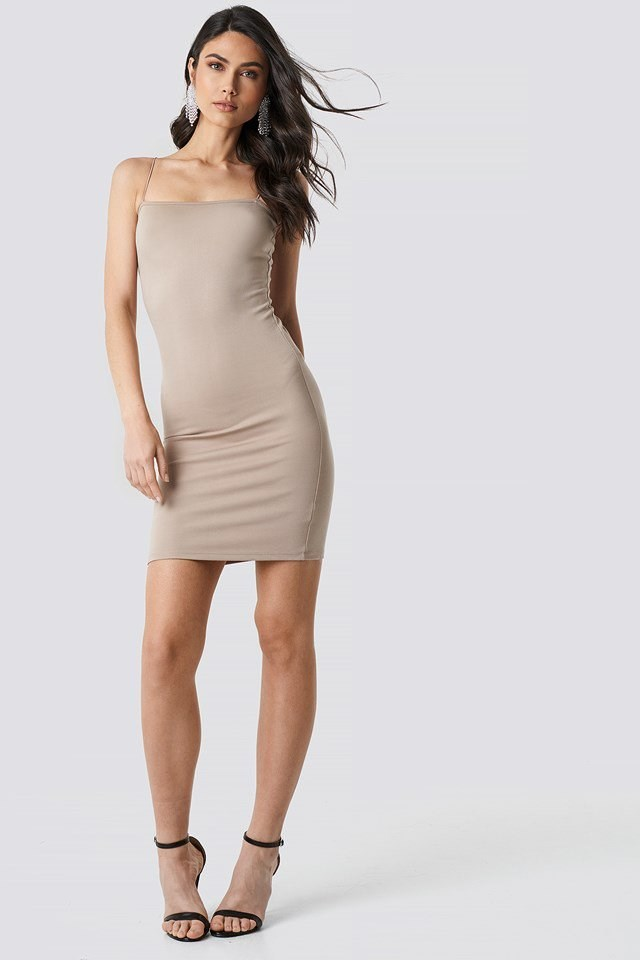 Spaghetti Strap Dress Beige Outfit