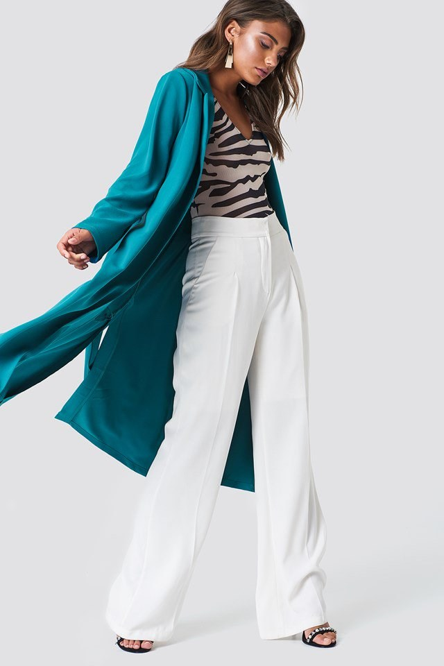 Trench Coat with High Waisted Pants
