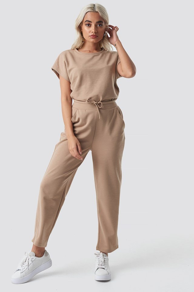 Basic Slip Pants Beige Outfit