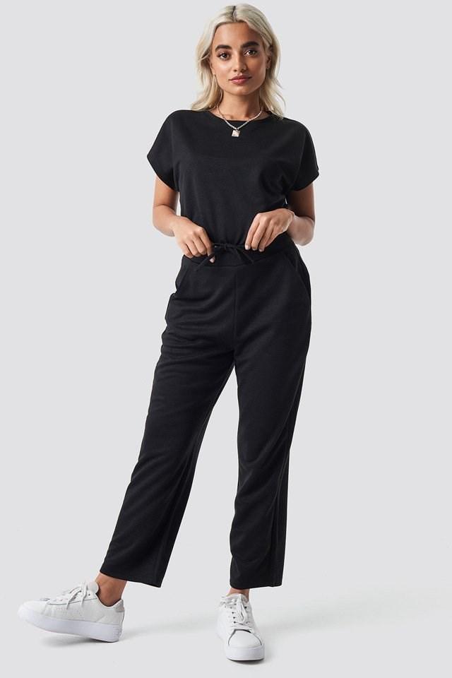 Basic Slip Pants Black Outfit