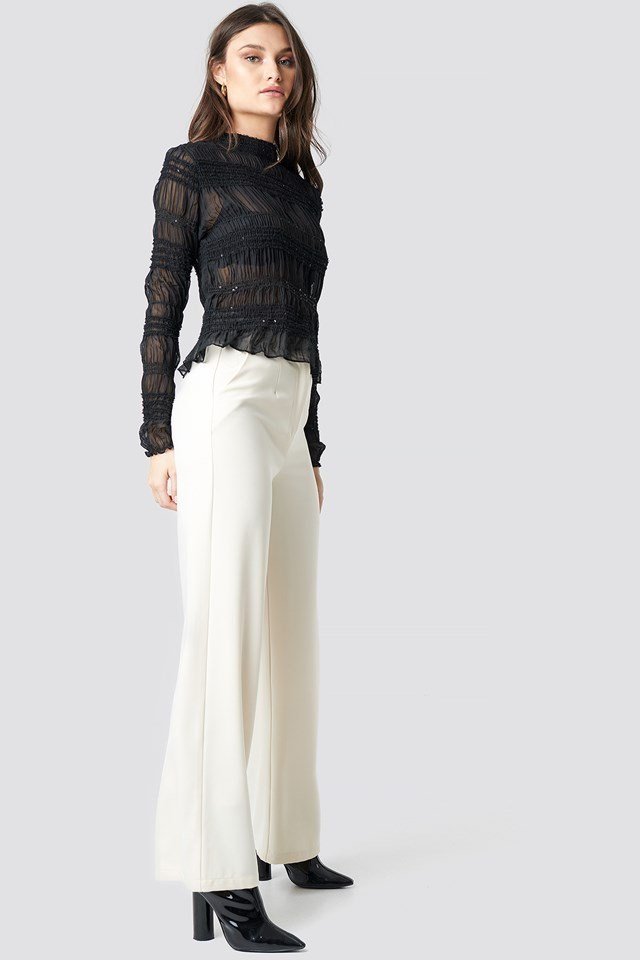 High Neck Sequins Detail Top Black Outfit