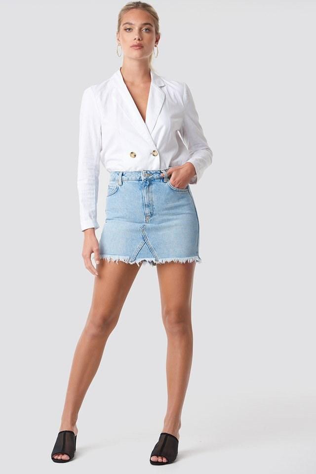 Linen Blazer with Denim Skirt