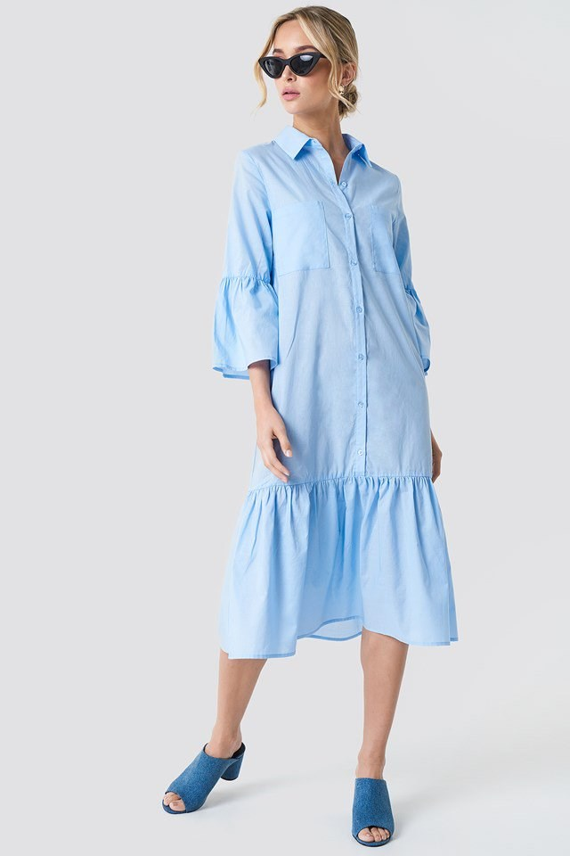 Cute Frill Shirt Dress