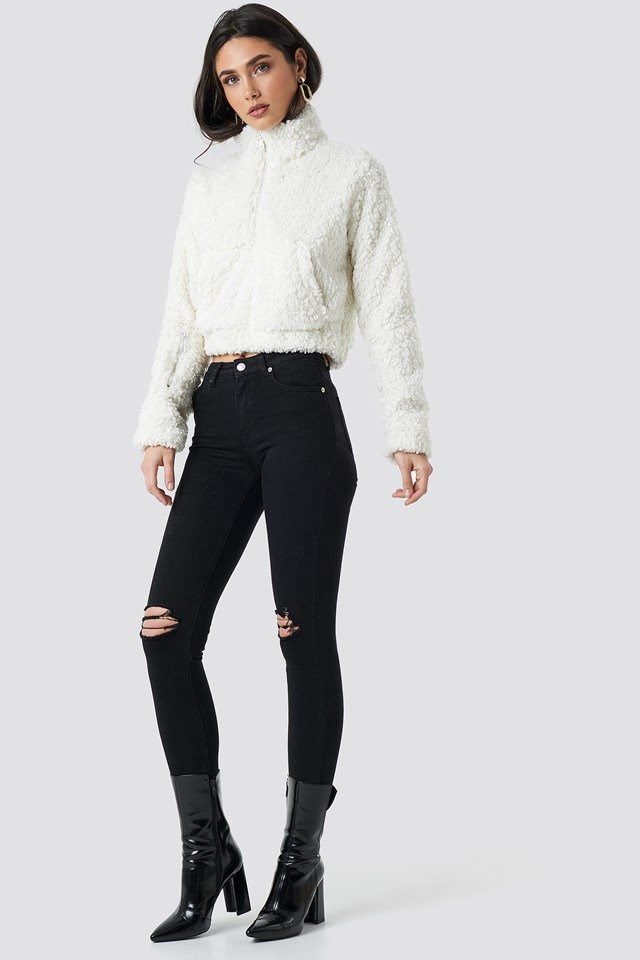 Teddy Faux Fur Zip Front Sweater White Outfit