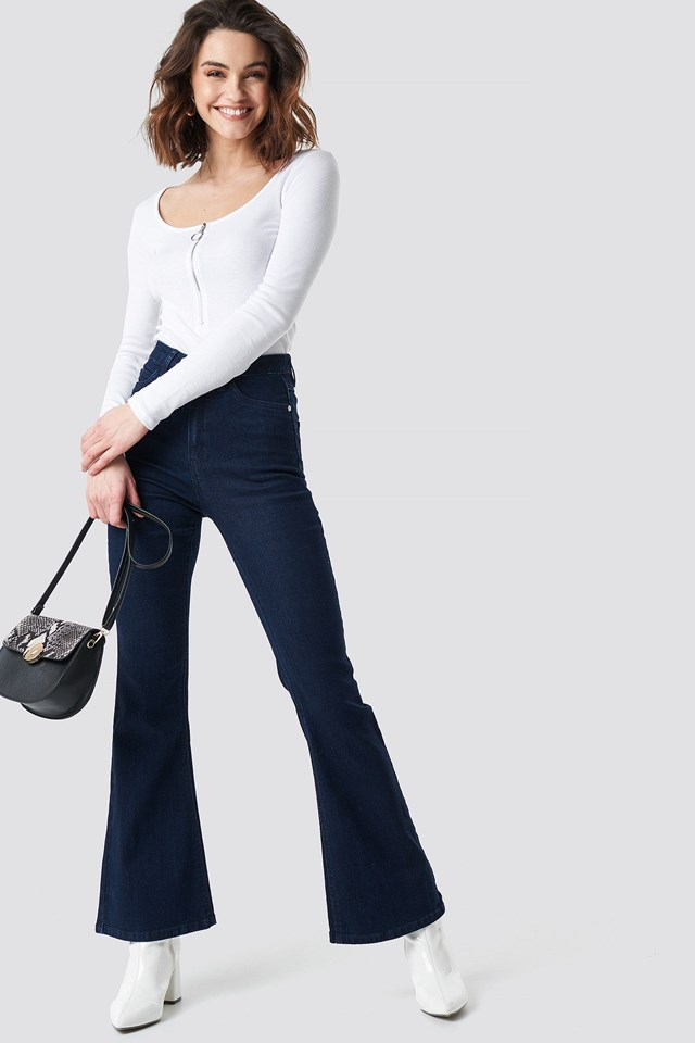 Blue Bootcut Jeans Outfit