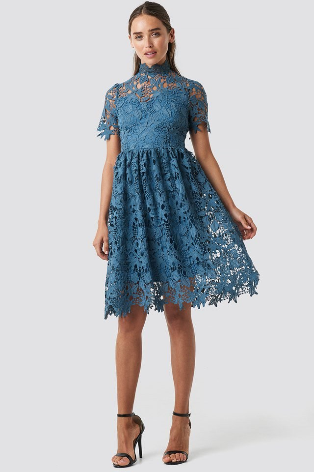 High Neck Short Sleeve Lace Dress Blue Outfit