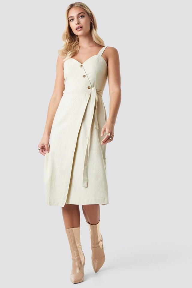 Button Detail Waistband Dress Outfit