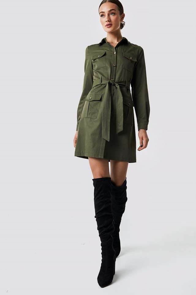 Pocket Detail Shirt Dress Outfit