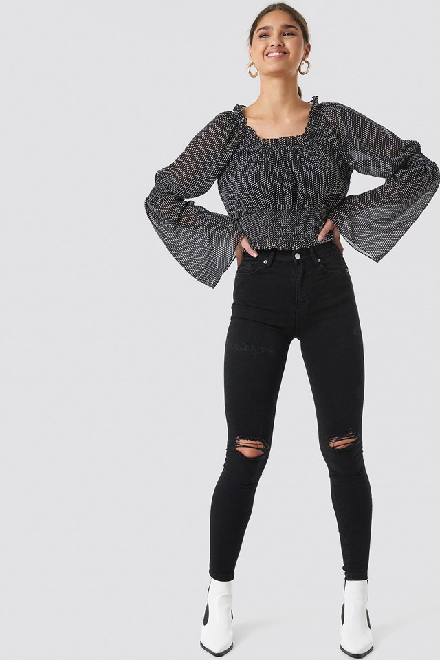 Skinny High Waist Distress Jeans Outfit