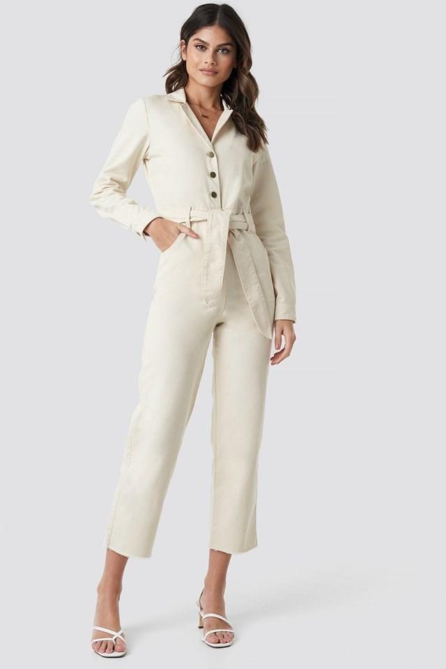 Front Tie Denim Jumpsuit White Outfit