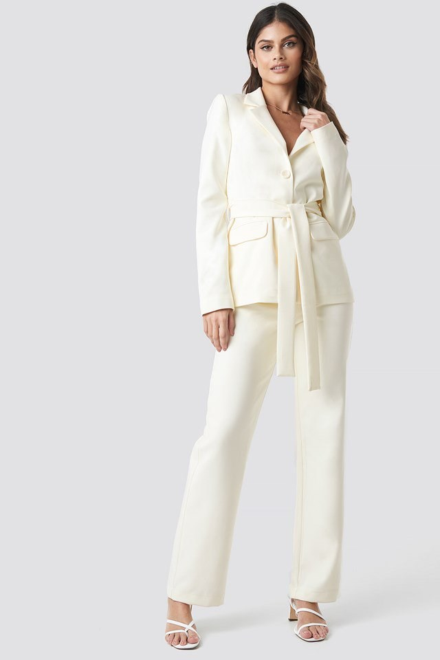 Front Tie Blazer White Outfit