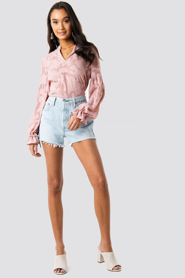 Pink Jacquard Flower Blouse Outfit