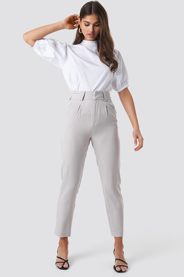 Pinstriped Cigarette Pants Outfit