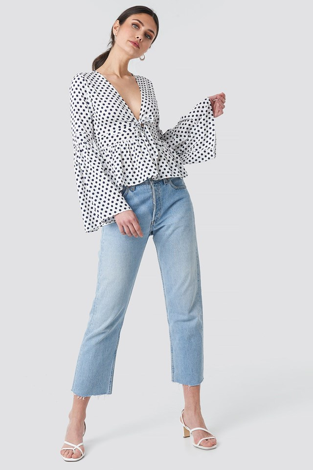 Wide Sleeve Polka Dot Blouse Outfit