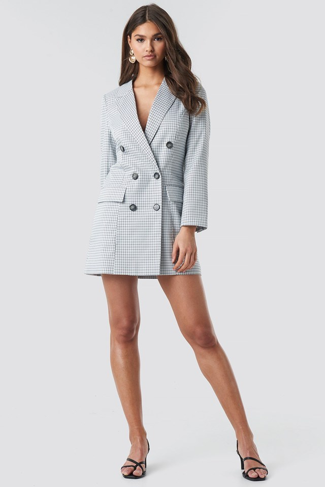 Small Checkered Blazer Dress Outfit