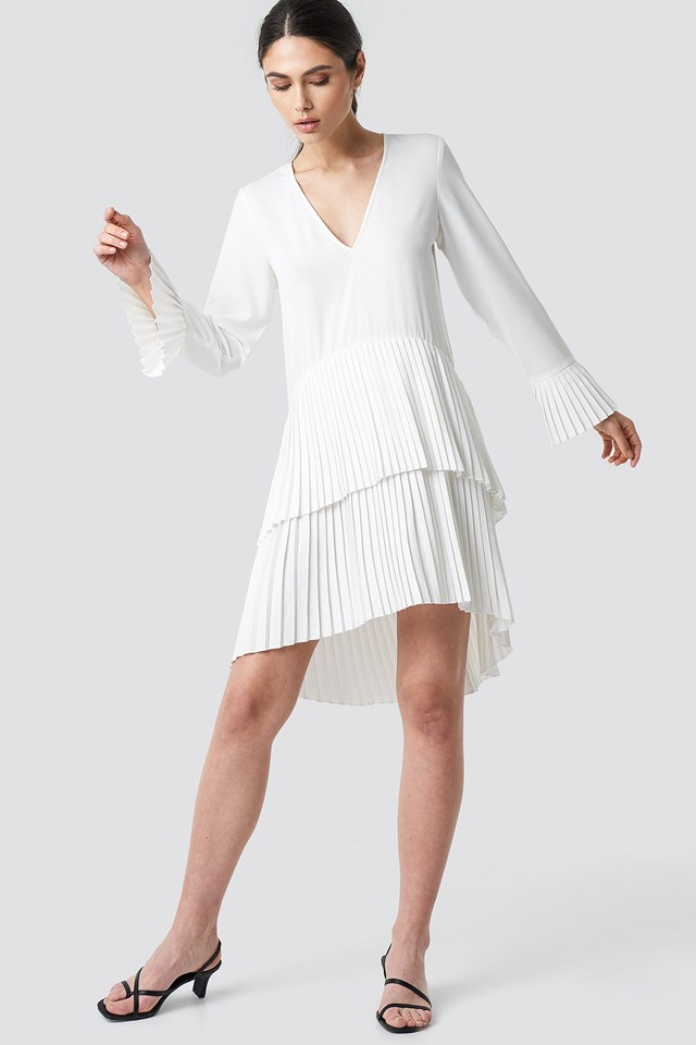 Pleat Detail Layered Mini Dress Outfit