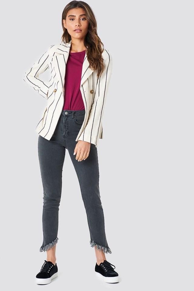 Striped Blazer with Denim Pants