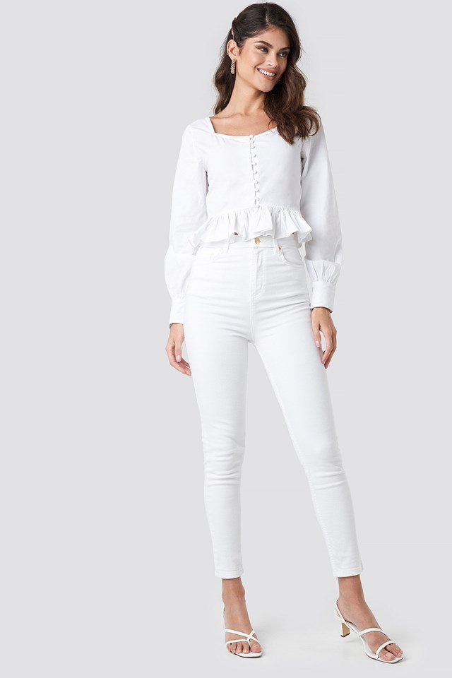 Frill Detailed Button Up Blouse Outfit