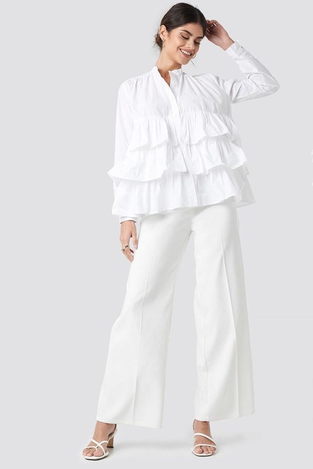 Cotton Flounce Blouse Outfit