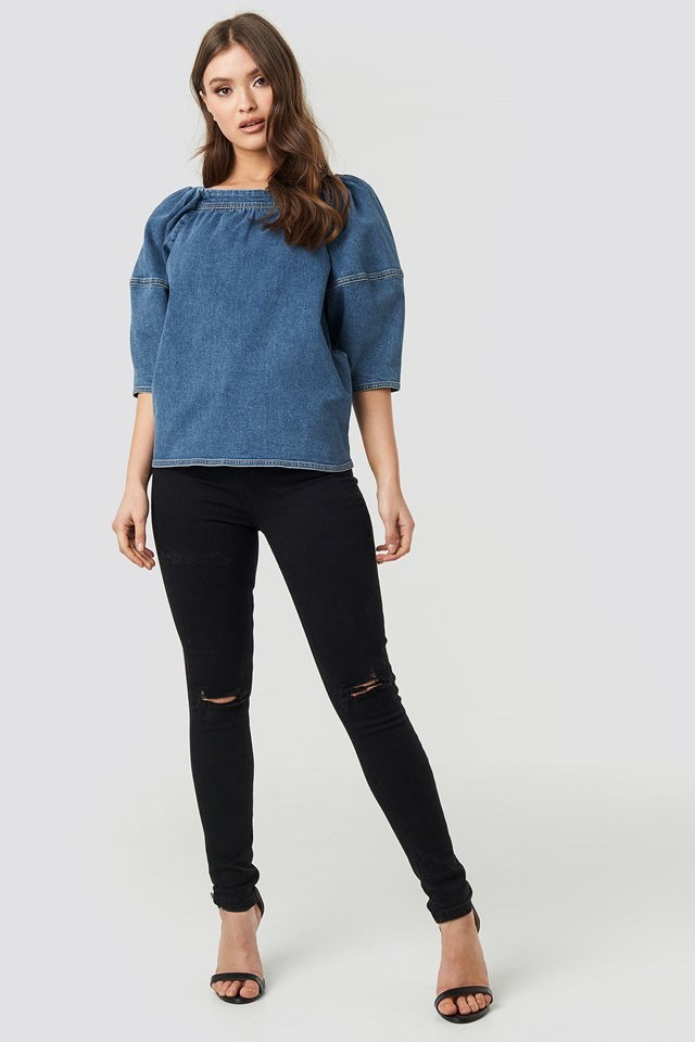 Puff Sleeve Denim Top Outfit