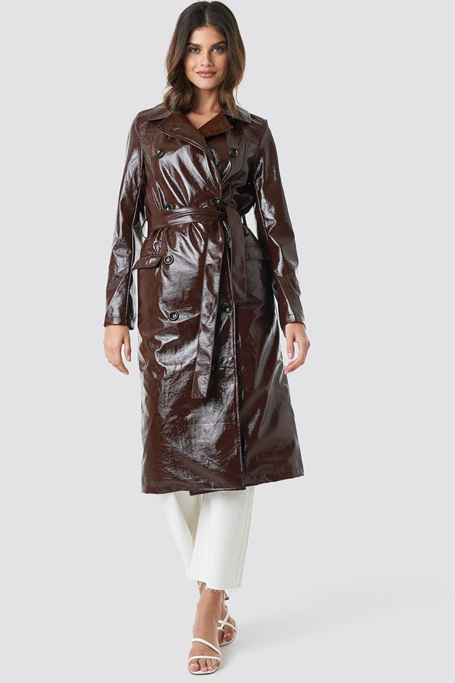 Belted Patent Jacket Brown Outfit