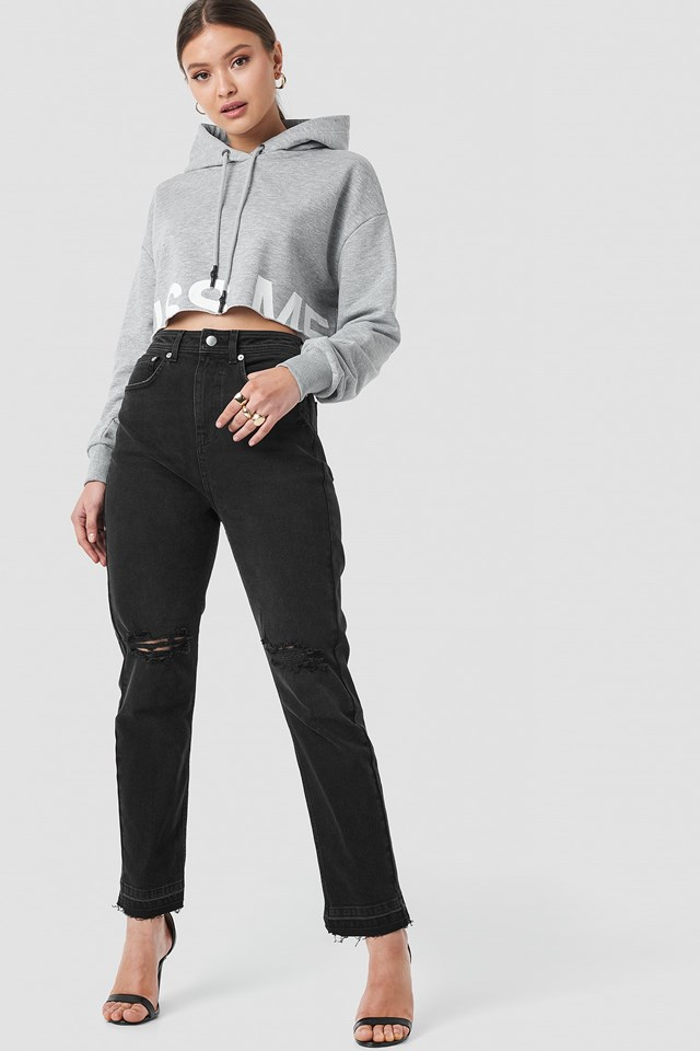 """Chance"" High Waist Straight Jeans Black Outfit"