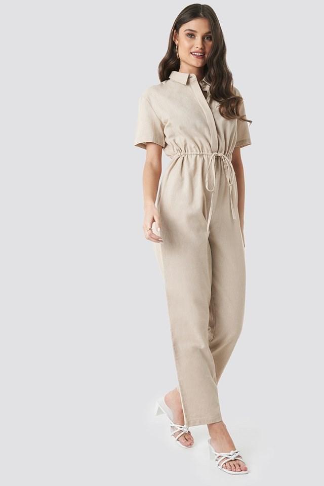 Linen Look Drawstring Shirt Jumpsuit Beige Outfit